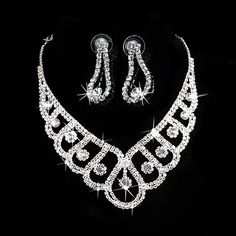 Luxury Wedding Bridal Crystal Rhinestone Necklace Earring Party Prom Jewelry Set #Unbranded