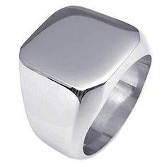 KONOV Polished Stainless Steel Band Biker Men's Signet Ring Color Silver
