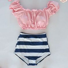 2 pc bikini ABSOLUTELY ADORABLE 2pc bikini, off the shoulder top with bra padding and underwire for support Swim Bikinis