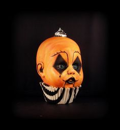 Clown doll head. Halloween I gotta make this!  Imagine a whole tree of ornaments like this