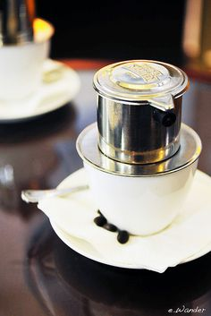The art of Vietnamese Coffee.... With a little sweetened condensed milk.  Amazing flavor and color.  This is how I make my coffee when I have time to make it artfully.
