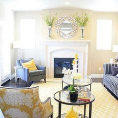 6th Street Design School - living rooms - 6thstreetdesignschool.blogspot, Z Gallerie Pierre Mirror, Dwell Studio yellow and cream rug, yello...