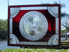 Depression Glass Plate Stained Glass Window by HeritageDishes