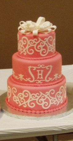 Coral Three Tier With Cricut Dummy cake covered in fondant with cricut designs. Made this in a class at the Austin Show with the. Pretty Cakes, Beautiful Cakes, Amazing Cakes, Cricket Cake, Dummy Cake, Cake Machine, Round Wedding Cakes, My Birthday Cake, Cake Central