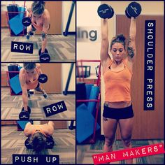 """Workout: """"Man Makers"""": Start in plank holding dumbbells. Row your right arm up, pinching your shoulder blade back to bring the weight up to your chest and sending your elbow straight up. Return the weight to the ground then row on the opposite side. Now do a push up. Next, jump your feet forward to meet your hands, stand up holding your weights and press them over head into a shoulder press, locking your arms out at the top. All of that......is one...(love these!)"""
