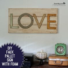 How to Make a Faux Pallet Sign. Super lightweight, no power tools & easy to hang!  @savedbyloves @floracraft