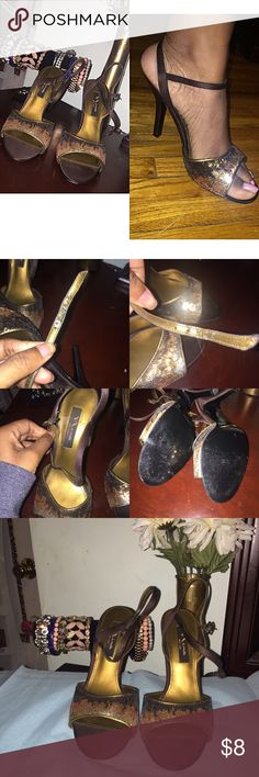 Gold Sequence Shoes 👠 These are Golden & brown sequence shoes! VERY GLAM ✨ In good condition. Inner strapes have some wear & tear but other than that these babies are marvelous! ✨ Nina Shoes Heels