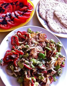 broad beans, tempe and tahini warm salad♡