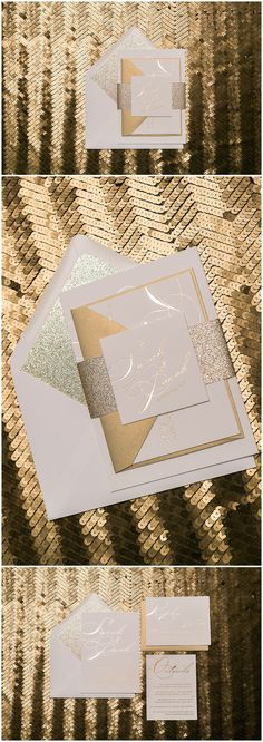 Our STEPHANIE Suite evokes glamour and glitz all in gold! This design features elegant gold foil stamping and gold glitter. Order the STEPHANIE Glitter Package
