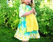 Sunshine Lagoon Milkmaid Peasant Dress with Apron