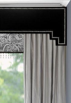 Tailored Valance Atlas Geometric Granite Black
