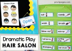 Pretend Play Printables for a Hair Salon Theme in your dramatic play center. Printable props to enhance learning and fun at home or school. Perfect for adding extra elements of math, literacy, oral language, and writing skills into  play experiences.