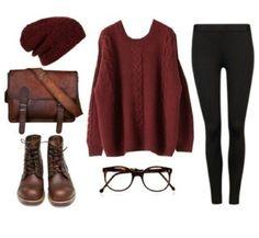 Maroon sweater black leggings maroon beanie brown combat boots