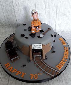 Coal Miner cake by Cake Inspirations Durham Engineering Cake, Birthday Cakes, Christening, Cake Ideas, Cake Decorating, Bakery, Birthdays, Cooking, Desserts