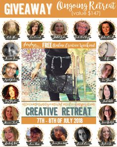 Woot woot- it's Give Away Time- we are less than 2 weeks out from the {Free} Online Creative Retreat Weekend and to celebrate I'm giving away 2 spaces in the Ongoing Creative Retreat!!  To Enter just share this Giveaway on Facebook  & be sure to tell me in the  comments  here on th