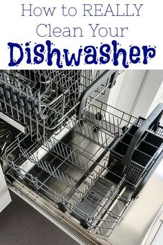 You wouldn't think your dishwasher actually needs cleaning, but it's a prime spot for mold and mildew to grow. This simple tutorial walks you through how to clean a dishwasher using all natural ingredients. House Cleaning Tips, Green Cleaning, Cleaning Hacks, Cleaning Your Dishwasher, Cleaning Appliances, Cleaners Homemade, Diy Cleaners, Helpful Hints, Handy Tips