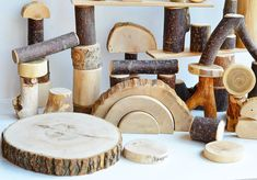 50 HUGE natural tree blocks of different types of wood, Wooden boys toy, Wood building blocks, Montessori inspired toddler toy, Waldorf toy