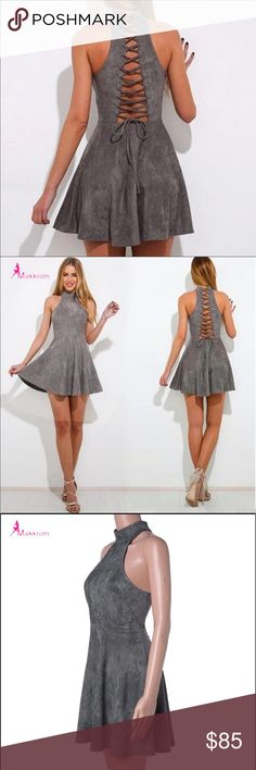 Lace Up Back Mini Dress Gray lace up dress. Fit-and-flare silhouette. No shoulders. Size Small. Bust 86 cm, waist 66 cm, skirt length 80.5 cm. Dresses Mini