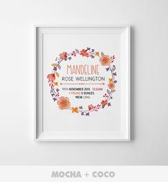 Personalized Baby Kid Poster Custom Name Poster by MochaAndCoco