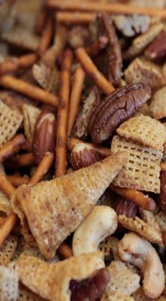 TEXAS TRASH - 1/2 (14 ounce) box of Rice Chex cereal; 1/2 (14 ounce) box of Corn chex cereal (you could use wheat in place of either of these); 1/2 (1 pound) bag of pretzel sticks;1 (7.5 ounce) bag of Bugles (regular) or Fritos;1 regular can (8.75 ounce) of deluxe mixed nuts;  1 cup of pecans or cashews (or nut of your choice);1-1/2 sticks butter;1 tablespoon Steak Seasoning; 1 tablespoons worcestershire sauce  1 tablespoon garlic powder Preheat oven to 250 degrees. -