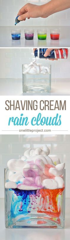"Beauty Tips These shaving cream rain clouds were a fun, easy and beautiful activity to do with kids. - This shaving cream rain clouds experiment is a fun, easy and beautiful activity to do with kids. Watch as the ""rain"" falls down from the clouds! Kid Science, Science Fair, Science Ideas, Science Week, Summer Science, Science Crafts, Science Experiments For Toddlers, Water Experiments, Kindergarten Science Experiments"