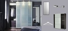 PAX black-brown wardrobe with SEKKEN frosted glass sliding doors (dark grey walls in bedroom with dark brown or black wardrobe)