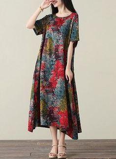 Poliéster Floral Manga até a metade do braço Longuete Informal Vestidos de (1054780) @ floryday.com