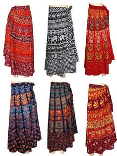RETRO Hippie Bohemian Festival Gypsy Indian Ethnic Block Print Wrap Skirt