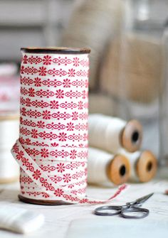 Favourite colour combo - red and white vintage cotton ribbon. Fabric Ribbon, Ribbon Bows, Ribbons, Cute Sewing Projects, I See Red, Make Do And Mend, Red Cottage, Crochet Quilt, Yarn Thread