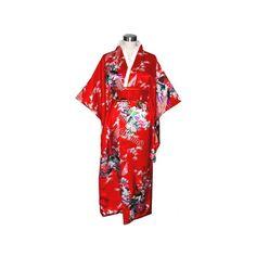 Women's Red Satin Japanese Kimono/Robe ($44) via Polyvore featuring intimates, robes, bath robes, kimono dressing gown, dressing gown, red robe and red kimono