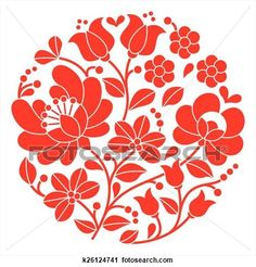 Kalocsai red embroidery - Hungary View Large Clip Art Graphic