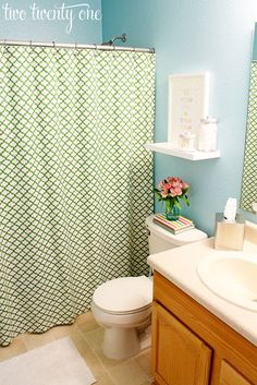 two twenty one: blue and green guest bathroom #bathroom