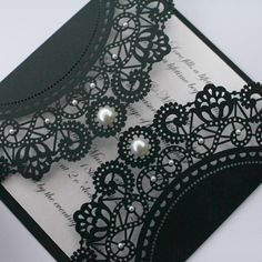 Vintage Style Lasercut Black Lace Doily Invitation - would be great for bridal shower