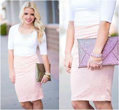 This Blush Pink Lace Skirt is such a pretty little number. It has gorgeous pink lace, and is just as classy as can be. This skirt is fitting and flattering! Fulling lined with zipper back