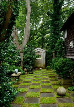 This would be SO cool to do with moss and just think...no mowing! It's sooooo great!