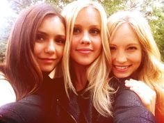 Nina Dobrev, Claire Holt and Candice Accola on the set of The Vampire Diaries.