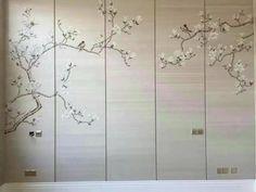 hand-painted silk wallpaper magnolia per panel Feng Shui Wallpaper, Silk Wallpaper, Wallpaper Panels, Wardrobe Door Designs, Wardrobe Design Bedroom, Wall Painting Decor, Silk Painting, Gold Painted Walls, Painted Silk
