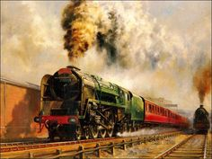 Railroad Art : Steam Train Painting by Howard Fogg 2 Steam Art, Old Steam Train, Bonde, Steam Railway, Train Art, Railway Posters, Train Pictures, Free Pictures, Old Trains
