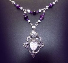 'Archangel' Amethyst, white jade and crystal goddess necklace