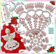 christmas ornamnent - Her Crochet Crochet Angel Pattern, Crochet Angels, Crochet Diagram, Crochet Patterns Amigurumi, Filet Crochet, Crochet Motif, Diy Crochet, Crochet Christmas Decorations, Crochet Christmas Ornaments