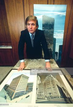 Donald Trump with rendering of Trump Tower skyscraper and Bonwit Teller Building photographs, Fifth Avenue, New York City, 1980.