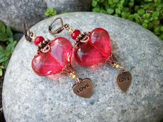 Earrings Victorian Hearts Lucite Beads by GratefulBeads on Etsy, $13.00