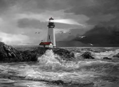 Seascape With The Yaquina Lighthouse In Black And White  Oil Painting Painting - Beam Of Hope In Black And White by Regina Femrite