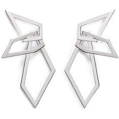 W.Britt 'Interlocking Angle' silver angular hoop earrings ($1,332) ❤ liked on Polyvore featuring jewelry, earrings, metallic, interlocking jewelry, silver jewelry, wing earrings, silver earrings and silver jewellery