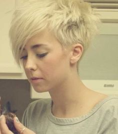 Blonde Messy Pixie with Long Bangs