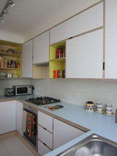 Plywood kitchen, birch ply, Formica, Kandya, mid-century modern, retro