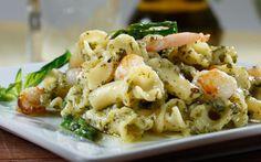 Campanello with Basil Pesto, Asparagus and Seafood