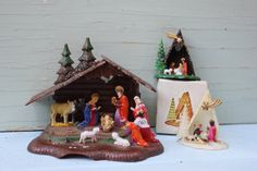 Vintage Nativity Sets - Plastic, Instant Collection, Set of Three, Christmas, (White)