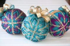 Teal and Gold Quilted Christmas Ornament Ball by YouniqueOrnaments, $25.00