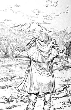 I Love Ireland, France, Tolkien movies & . Drawing Sketches, Pencil Drawings, Art Drawings, Fantasy Kunst, Fantasy Art, Character Sketches, Landscape Drawings, Environment Concept Art, Pen Art